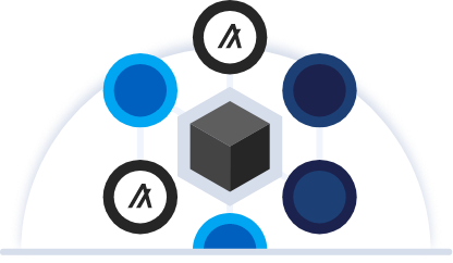 Cube surrounded by circles with algorand icons