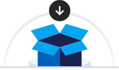 Blue box with hovering down arrow